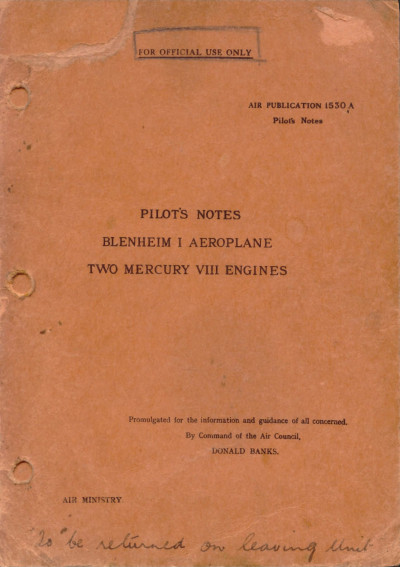 Pilot's Notes Blenheim I