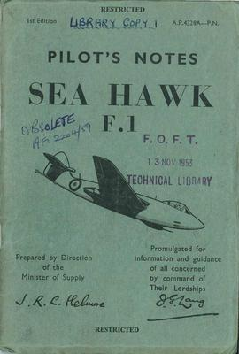 Pilot's Notes Sea Hawk F1