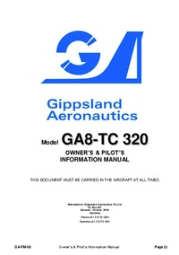 GA-FM-08 - Gippsland Aeronautics GA8-TC 320 Owner's & Pilot's Information manual