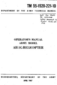 2645 TM 55-1520-221-10 Operators Manual Army Model AH-1G Helicopter