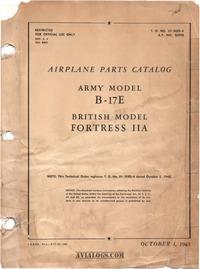 T.O. 01-20EE-4 Airplane parts Catalog B-17E - Fortress IIA
