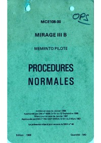 MCE108-00 Mirage IIIB Memento pilote Procedures normales
