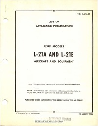 T.O. 1L-21A-01 List of applicable publications L-21A and L-21B aircraft and equipment