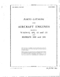 AN 02-55AD-4 Parts Catalog for aircraft engines V-1650-9,9A, -11 and -21 and Merlin 300 and 301