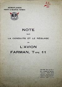 Note sur la conduite et le réglage de l'avion Farman Type 11