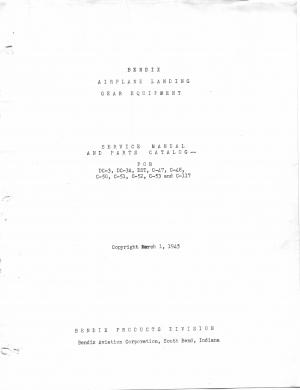 Bendix Landing gear - Service Manual and parts catalog - DC-3 - C-47- C-53 - C-117