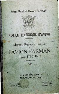 Notice Technique d'Avion - Montage , réglage et conduite de l'avion Farman Type F.60 Bn-2