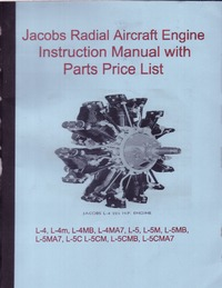 Jacobs Radial Aircraft Engine Instruction Manual with Pats Price List