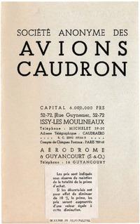 Prices list Avions Caudron March 1935