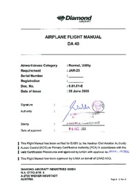 Airplane Flight manual DA 40