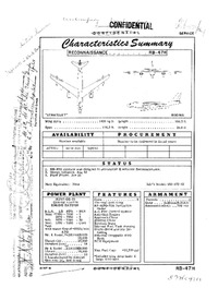 2750 RB-47H Stratojet Characteristics Summary - 25 September 1956