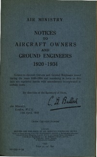 Notices to Aircraft Owners and Ground Engineers 1920-1934