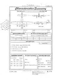 B-17G Flying Fortress Characteristics Summary - 27 April 1949
