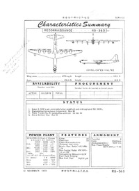 RB-36D Peacemaker Characteristics Summary - 10 November 1950