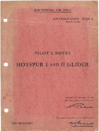 AP 2092A Pilot's Notes Hotspur I and II Glider