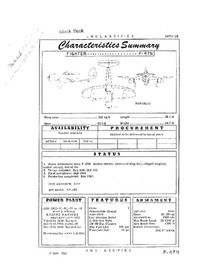 F-47N Thunderbolt Characteristics Summary - 17 May 1950