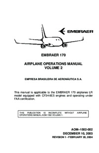 Embraer 170 Airplane Operations Manual - Volume 2