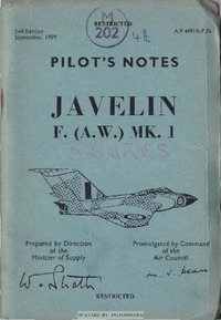 A.P. 4491A Pilot's Notes Javelin F. (A.W.) MK1