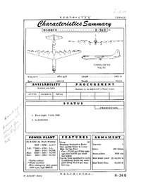 B-36B Peacemaker Characteristics Summary - 15 August 1949