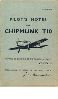A.P. 4308A - Pilot's Notes for Chipmunk T10