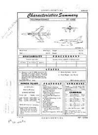 RF-105B Thunderchief Characteristics Summary - 23 April 1956