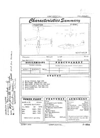 F-89A Scorpion Characteristics Summary - 29 May 1950
