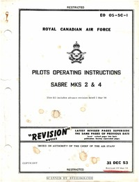 EO 05-5C-1 RCAF Pilots Operating Instructions Sabre MKS 2 & 4