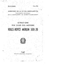 Istruzioni per l'uso del motore Rolls-Royce Merlin 500-20
