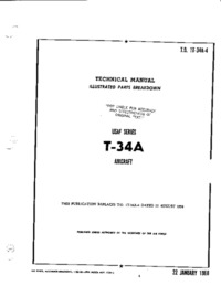 T.O. 1T-34A-4 Technical Manual Illustrated Parts Breakdown T-34A Aircraft