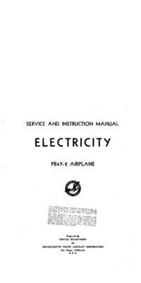 Service and Instruction manual - Electricity - PB4Y-2 Airplane