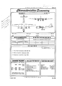 B-29 Superfortress Characteristics Summary - 9 March 1949