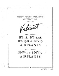 Pilot's Flight Operating Instructions for the Valiant BT-13, BT-13A, BT-13B & BT-15 Airplanes
