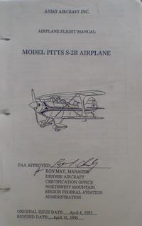 Airplane Flight Manual Pitts S-2B Airplane