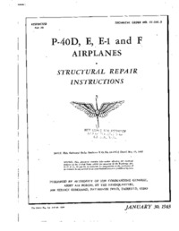 T.O 01-25C-3 P-40D, E, E-1 and F Airplanes - Structural Repair Instructions