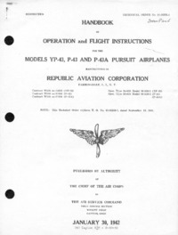 T.O. No. 01-65BB-1 Handbook of Operation and Flight Instruction for the Model YP-43,P-43,A Pursuit Airplanes