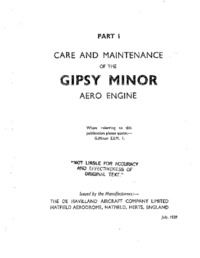 Care and Maintenance of the Gipsy Minor Aero Engine