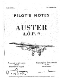 A.P. 2440H Pilot's Notes Auster A.O.P. 9 - 2nd edition
