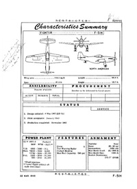 F-51H Mustang Characteristics Summary - 22 March 1949