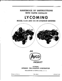 Handbook of Instructions with Parts Catalog Lycoming model O-145 and GO-145