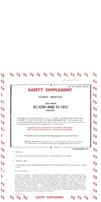 T.O. 1C-121(E)D-1SS-15 Safety Supplement Flight Manual EC-121D and TC-121C
