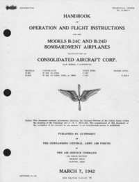 T.O. 01-5EC-1 Handbook of operation and flight instructions for the model B-24C and B-24D Bombardment Airplanes