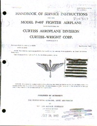 T.O. 01-25CH-2 Handbook of service instructions Model P-40F Fighter Airplane
