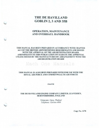 The de Havilland Goblin 2,3 and 35B Operation, Maintenance and Overhaul Handbook