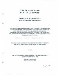 The de Havilland Goblin 2,3 and 35B Operation, Maintenance and Overhaul Handbook