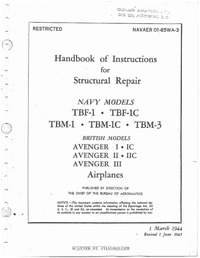Navaer 01-85WA-3 Handbook of Instructions for structural repairs TBM Avenger