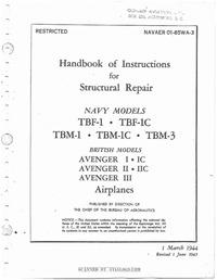 Navaer 01-85WA-3 Handbook of Instructions for structural repairs TBM Avenger
