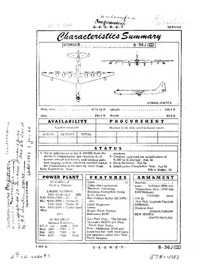 B-36J-III Peacemaker Characteristics Summary - 3 October 1955