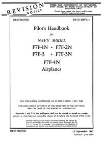 AN 01-85FA-1 Pilot's Handbook for F7F-1N, F7F-2N,F7F-3, F7F-3N, F7F-4N, Airplanes