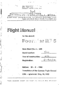 Flight Manual for the aircraft Fournier RF5