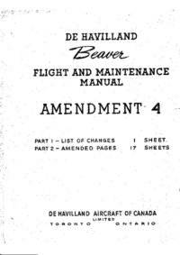 de Havilland Beaver Flight and Maintenance Manual Amendment 4